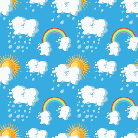 Summer weather seamless pattern with sun, clouds, rain and rainbow on blue sky backgrounds. Cartoon style vector illustration.