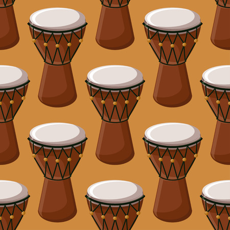 Turkish or african traditional drums seamless pattern. Cartoon style vector illustration.