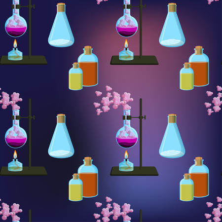 Bright and colorful chemistry scientific seamless pattern with chemical equipment, reagents and reactions. Science for kids. Cartoon style vector illustration.