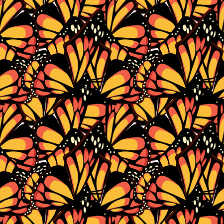 Butterfly monarch with macro textured wings seamless pattern. Vector illustration.