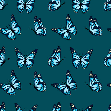 Flying and sitting butterflies with blue wings seamless pattern on dark blue background. Flat design vector illustration. Иллюстрация