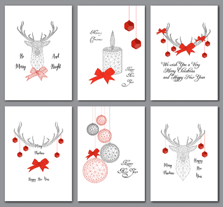 Set of Christmas cards with low polygonal decorations, deer head, balls, ribbon bow, candle and text