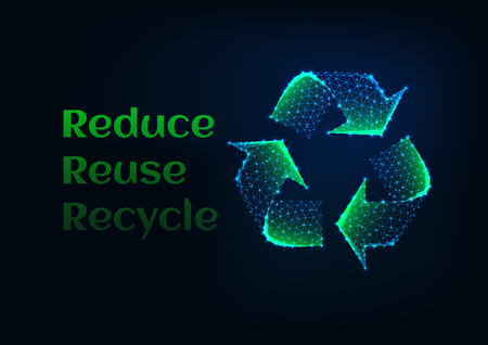 Reduce reuse recycle ecological banner template with green glowing low poly recycle symbol and text on dark blue backgtound. Ecology concept. Futuristic wireframe design vector illustration