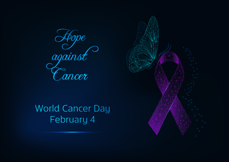 World Cancer Day banner template with butterfly sitting on purple ribbon and text Hope against Cancer on dark blue background. Modern glowing low polygonal design vector illustration.