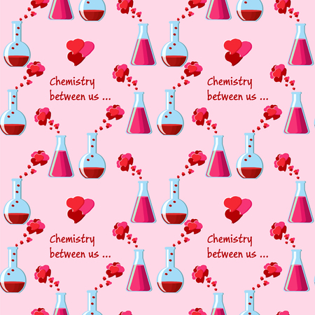 Valentines day seamless pattern with couple of chemical beakers with love elixir, heart shape bubbles and text chemistry between us on pink background. Vector illustration.