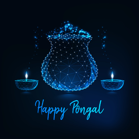 Pongal greeting card with glowing low poly pot with rice meal, diya with burning light and text Illustration