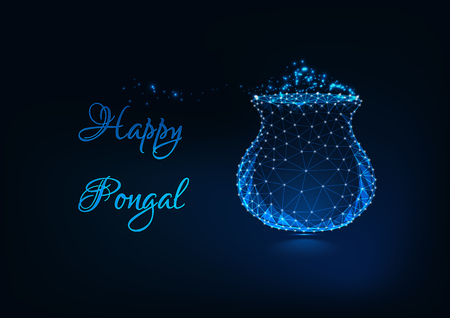 Happy Pongal greeting card with glow low poly pot with rice meal, text on dark blue background. Illustration