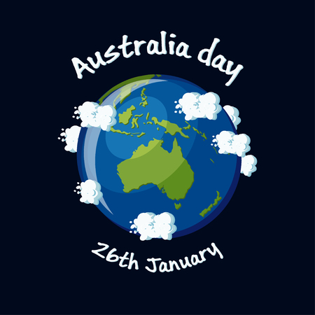 Australia Day, 26th January greeting card with Australia map globe, clouds and text. Cartoon vector illustration in flat style.