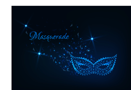 Masquerade abstract background with glowing low polygonal carnival mask, stars and text on dark blue. Futuristic wireframe design vector illustration.