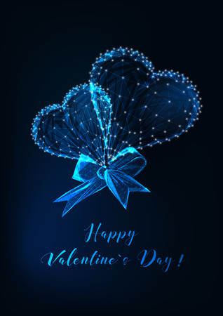 Valentine Day greeting card template with glowing low poly couple hearts and ribbon bow and text on dark blue background. Modern wireframe design vector illustration.