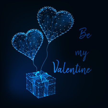 Valentine Day greeting card template with glowing low poly gift box, heart shape balloons and text Be my Valentine on dark blue background. Modern wireframe design vector illustration.