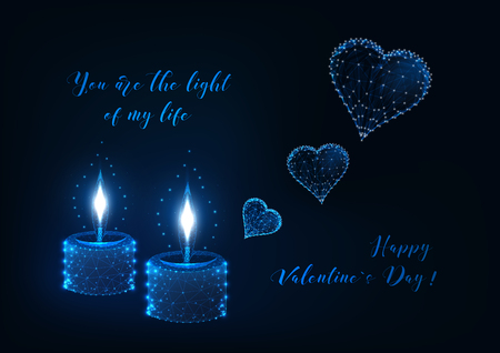 Valentines day greeting card with two burning candles and flying hearts and text