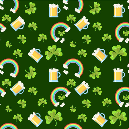 St. Patricks Day seamless pattern with clover leaves, beer glasses, and rainbow on dark green background. Cartoon vector illustration in flat style.