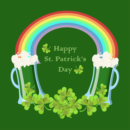 St. Patricks Day greeting card with clover leaves, green beer glasses, rainbow and text Lucky Day on dark green background. Cartoon vector illustration in flat style.