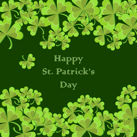St. Patricks Day greeting card with clover leaves and text on dark green background. Cartoon vector illustration in flat style.