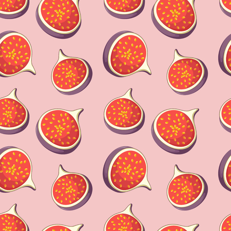 Seamless pattern with bright tasty slices of dates fruits figs on pink background. Cartoon style vector illustration. Иллюстрация