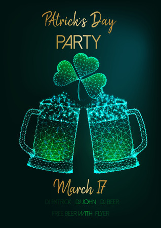 Saint Patricks Day party invitation flyer template with glowing low polygonal glass beer mugs, shamrock leaves and golden text on dark green background. Futuristic wireframe design vector illustration