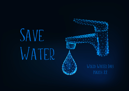 World Water day March 22 poster template with glowing low poly bathroom faucet with water drop and message Save water on dark blue background. Futuristic wireframe design vector illustration.