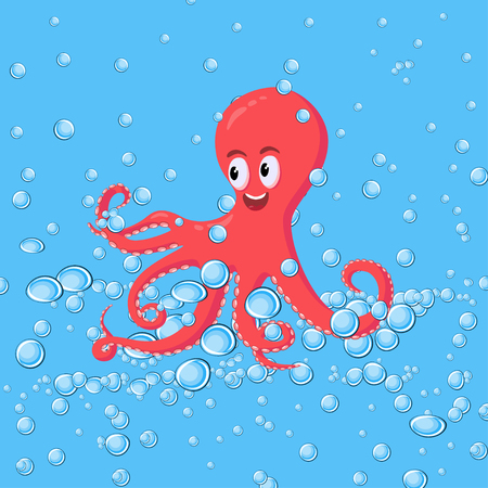 Cute smiling red octopus swimming underwater with blue water bubbles in the ocean. Tropical aquatic wildlife animals. Cartoon style vector illustration.