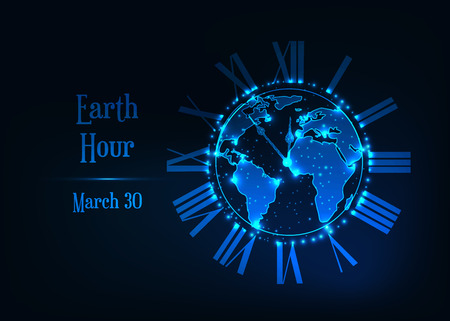 Earth Hour March 30 poster template with glowing low polygonal Earth planet globe surrounded by roman clock and text on dark blue background. Futuristic wireframe design vector illustration.