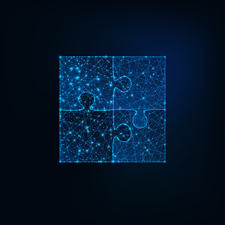 Glowing low polygonal jigsaw puzzle icon of four pieces on dark blue background. Futuristic wireframe design vector illustration.