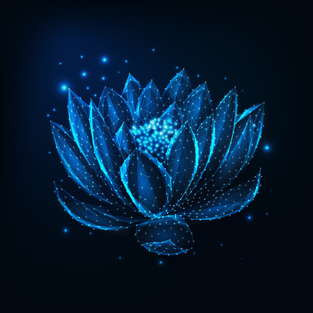 Beautiful glowing low polygonal floating waterlily, lotus flower with stars on dark blue background. Ayurveda, spiritual yoga symbol. Futuristic wireframe design vector illustration.