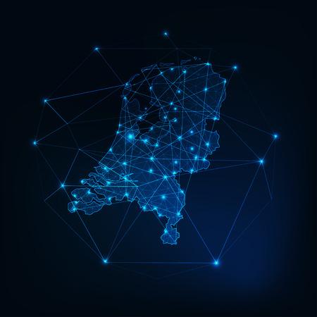 Nederland kaart gloeiende silhouet omtrek gemaakt van sterren lijnen stippen driehoeken, lage veelhoekige vormen.