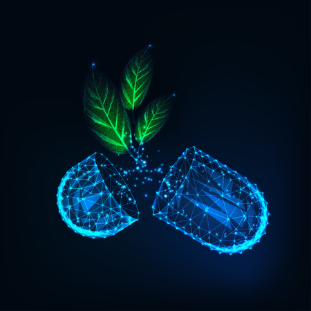 Glow low poly medicine capsule pills with green organic herb leaves on dark blue background.