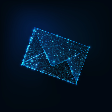 Glowing low polygonal envelope as symbol of electronic mail isolated on dark blue background.