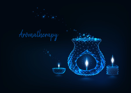 Aromatherapy concept with glowing low polygonal aroma lamp, oil lamp and scented candles stick. Illustration