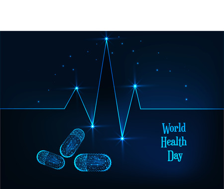 World Health Day banner template with glowing low polygonal heartbeat line, pills and text on dark blue background. Medicine, healthcare concept. Futuristic wireframe vector illustration Иллюстрация
