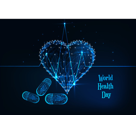 World Health Day banner template with glowing low polygonal heartbeat line, heart symbol, pills and text on dark blue background. Medicine, healthcare concept. Futuristic wireframe vector illustration Иллюстрация