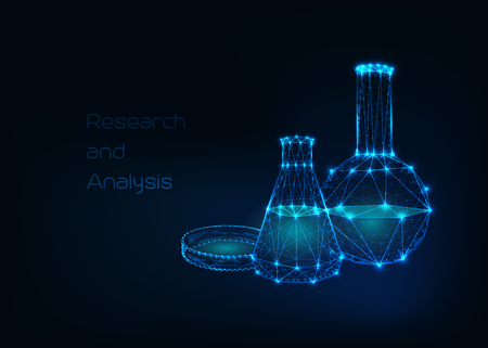 Futuristic science background with glowing low polygonal cone and round beaker and petri dish made of lines, stars, triangles on dark blue background. Scientific chemistry concept. Vector illustration