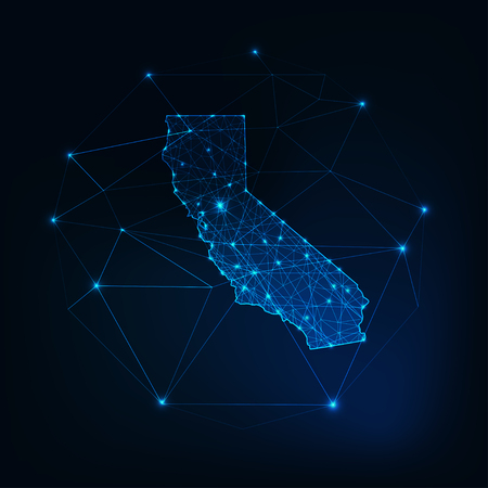 California state USA map glowing silhouette outline made of stars lines dots triangles, low polygonal shapes. Illusztráció