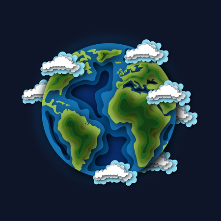 The planet Earth surrounded by clouds in the space. Paper cut out style vector illustration.