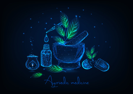 Concept de médecine ayurvédique avec mortier polygonal bas brillant, feuilles, bouteille d'huile essentielle et pipette, pilules à base de plantes et aromalamp sur fond bleu foncé. Illustration vectorielle de design futuriste.