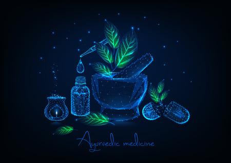Concetto di medicina ayurvedica con mortaio poligonale basso incandescente, foglie, bottiglia di olio essenziale e pipetta, pillole a base di erbe e aromalamp su sfondo blu scuro. Illustrazione vettoriale di design futuristico.