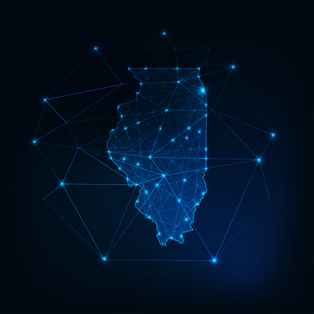 Illinois state USA map glowing silhouette made of stars lines dots triangles, low polygonal shapes. Illustration