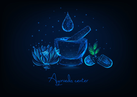 Futuristic ayurveda center concept with glowing low polygonal mortar, essential oil drop, lotus flower and herbal pills on dark blue background. Modern wireframe design vector illustration.