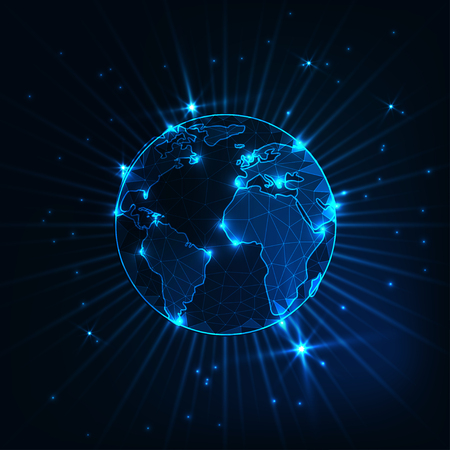 Futuristisch leuchtende niedrige polygonale Planetenerdkugel mit Sternen und Strahlen auf dunkelblauem Hintergrund.