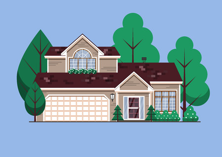 Suburban American single family house. Two store town home with garden trees