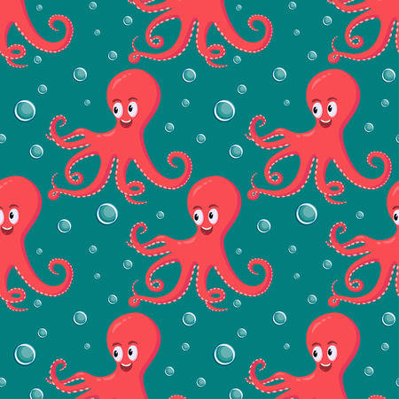Cute smiling red octopus swimming underwater with water bubbles in the ocean on dark tourquise background seamless pattern.