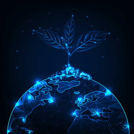 Growth and development concept with glowing low polygonal plant sprout planted on the planet earth globe on dark blue background. Futuristic wireframe design vector illustration.