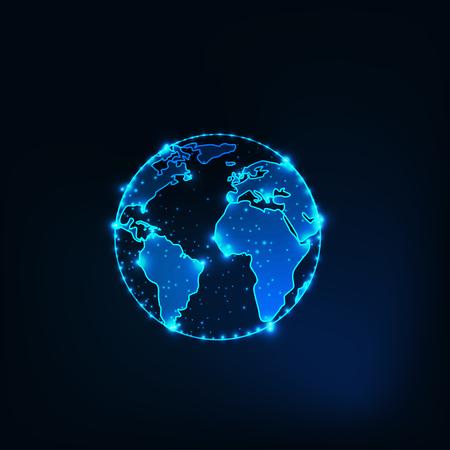 Futuristic glowing planet earth globe silhouette outline with stars on dark blue background. Ilustração