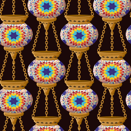 Traditional oriental lanterns ornated by ceramic mosaic flowers and hanging copper chains on dark brown background seamless pattern. Colorful cartoon vector illustration.