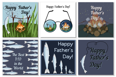 Happy Fathers Day greeting cards set for dad fisherman with campfire, roasting marshmallows, glasses, catching fish and text. Flat design vector illustration.
