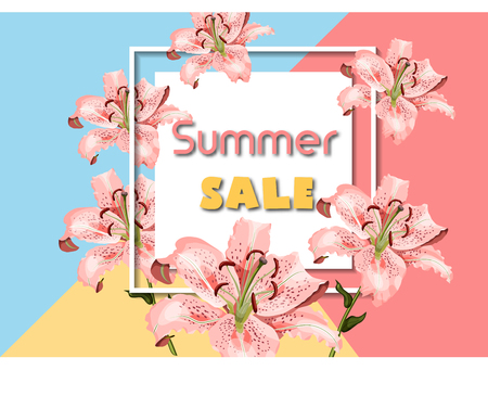 Summer sale advertising poster template with coral oriental lily flowers, white square frame and promo text on pastel geometric background. Modern design vector illustration.