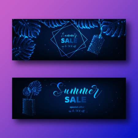Futuristic Summer sale banners set with glowing low poly monstera tropical leaves, price tag and shopping bag and promo text on dark blue background. Modern wireframe design vector illustration. Illustration