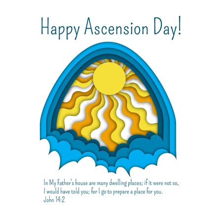Happy Ascension Day of Jesus greeting card template with Bible quote, clouds and sun rays.
