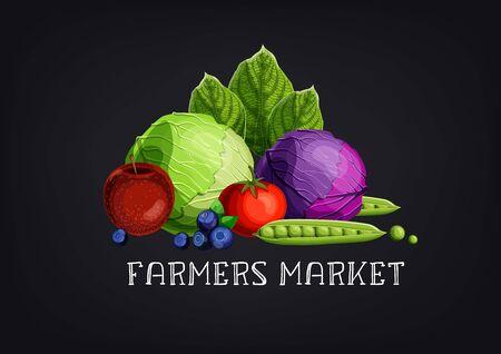 Bannière de marché fermier avec fruits et légumes colorés et texte sur fond de tableau noir.
